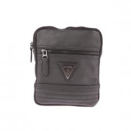 Petite sacoche plate zippée Guess en simili-cuir noir