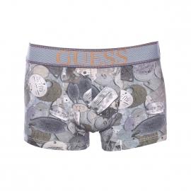 Boxer Guess en coton stretch gris à imprimé plaques métalliques