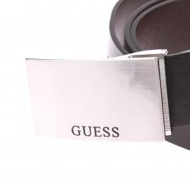 Coffret Guess : Ceinture ajustable noire réversible marron, 1 boucle classique et 1 boucle pleine gravées