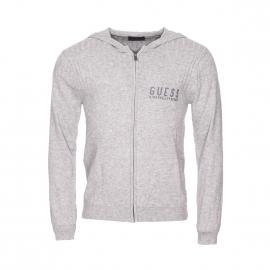 Sweat  zippé à capuche Guess en laine et coton gris chiné