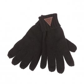 Gants Guess noirs avec empiècement en simili-cuir marron