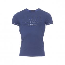 Tee-shirt col rond Guess bleu marine floqué