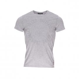 Tee-shirt col rond Guess gris floqué à l'avant