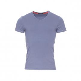 Tee-shirt col V Guess bleu grisé