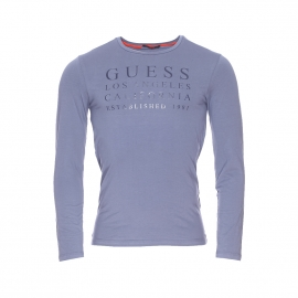 Tee-shirt manches longues Guess bleu grisé imprimé