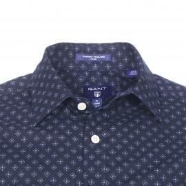 Chemise ajustée Gant en coton bleu marine à motifs losanges