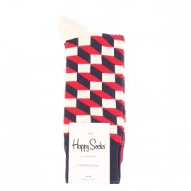 Chaussettes Happy Socks en coton peigné bleu marine à motifs carrés et rectangles rouges, bleu marine et blancs