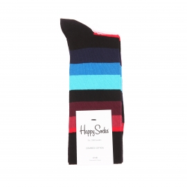 Chaussettes hautes Happy Socks noires à rayures multicolores