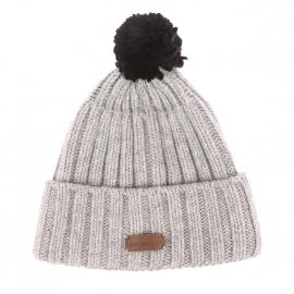 Bonnet à revers Quolibet Harris Wilson en laine grise et pompon noir