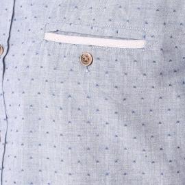 Chemise Harris Wilson Odessa en coton bleu grisé à petits motifs brodés au fil bleu