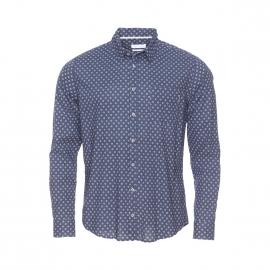 Chemise Harris Wilson Oriental en coton fluide bleu marine à motifs blancs et petits pois bordeaux