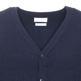 Gilet boutonné Salvo Harris Wilson en coton et laine bleu marine