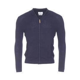 Gilet zippé Salicorne Harris Wilson en coton et laine bleu marine