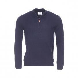 Pull col zippé Saleem Harris Wilson en coton et laine bleu marine
