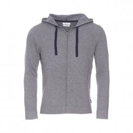 Sweat zippé à capuche Salvatore Harris Wilson en coton et laine gris souris