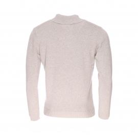 Pull Harris Wilson Samedi en coton et laine beige à col châle boutonné