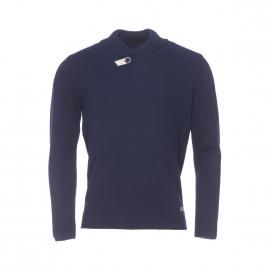 Pull Harris Wilson Samedi en laine et coton bleu marine à col châle boutonné