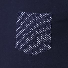 Tee-shirt Harris Wilson Perceval bleu marine à poche poitrine à motifs