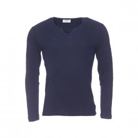 Tee-shirt manches longues Harris Wilson Platane en coton flammé bleu marine à petit col tunisien