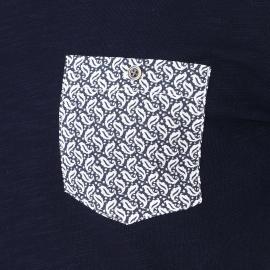 Tee-shirt manches longues Harris Wilson Pluton bleu marine avec poche poitrine à motifs cachemire