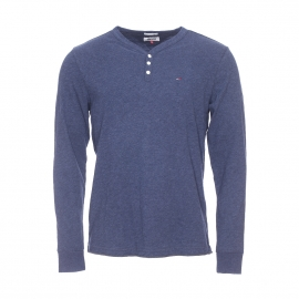 Tee-shirt manches longues col tunisien Henley Hilfiger Denim en coton bleu chiné
