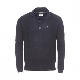 Pull col boutonné Hilfiger Denim en laine, cachemire et coton noir