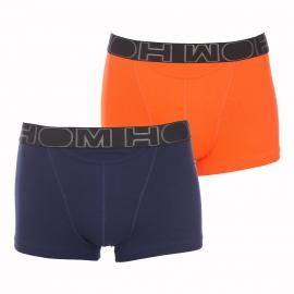 Lot de 2 boxers ouverts HO1 HOM en coton stretch bleu marine et orange