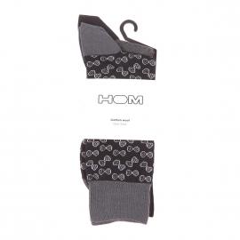 Lot de 2 paires de chaussettes Hom en coton et laine mérinos grise et noire et noir à motifs noeuds