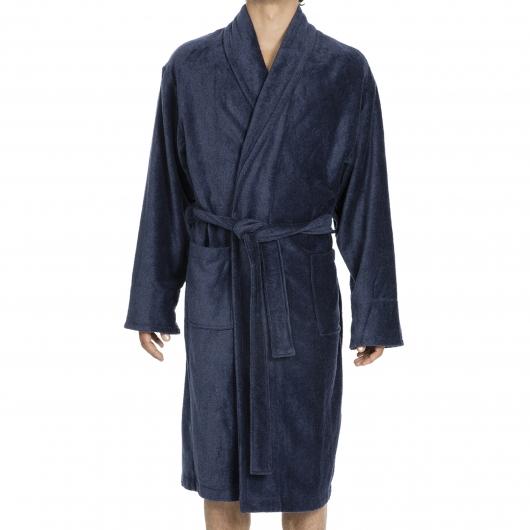 peignoir de bain roy hom en ponge velours bleu acier rue des hommes. Black Bedroom Furniture Sets. Home Design Ideas