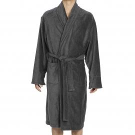 Peignoir de bain Roy Hom en éponge et velours gris