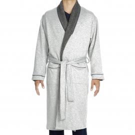 Robe de chambre Germain Hom bi-matière en polaire et jersey gris et anthracite