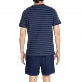 Pyjama court Charismatic Hom en jersey de coton : tee-shirt col V à rayures bleu marine et anthracite et short bleu marine