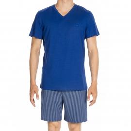 Pyjama court Elegant Hom en jersey de coton : tee-shirt col V bleu dur et short à rayures grises et bleu dur