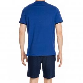 Pyjama court Galant Hom en jersey de coton : tee-shirt col V bleu roi et short bleu marine à losanges bleus