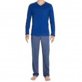Pyjama long Elegant Hom en jersey de coton : tee-shirt col V manches longues bleu dur et pantalon à rayures grises et bleu dur