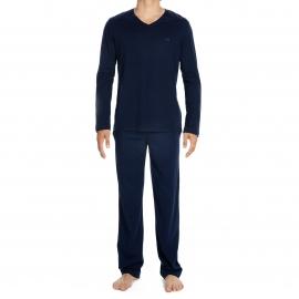 Pyjama long Galant Hom en jersey de coton : tee-shirt manches longues bleu marine et pantalon bleu marine à motifs carrés