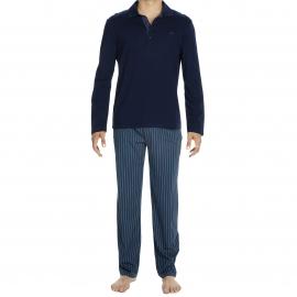 Pyjama long Jim Hom en jersey de coton mercerisé : polo manches longues bleu marine et pantalon à rayures gris foncé et bleu canard