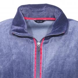 Tenue d'intérieur Jazz Hom en velours : Veste zippée bleu marine et bleu jean et pantalon bleu marine