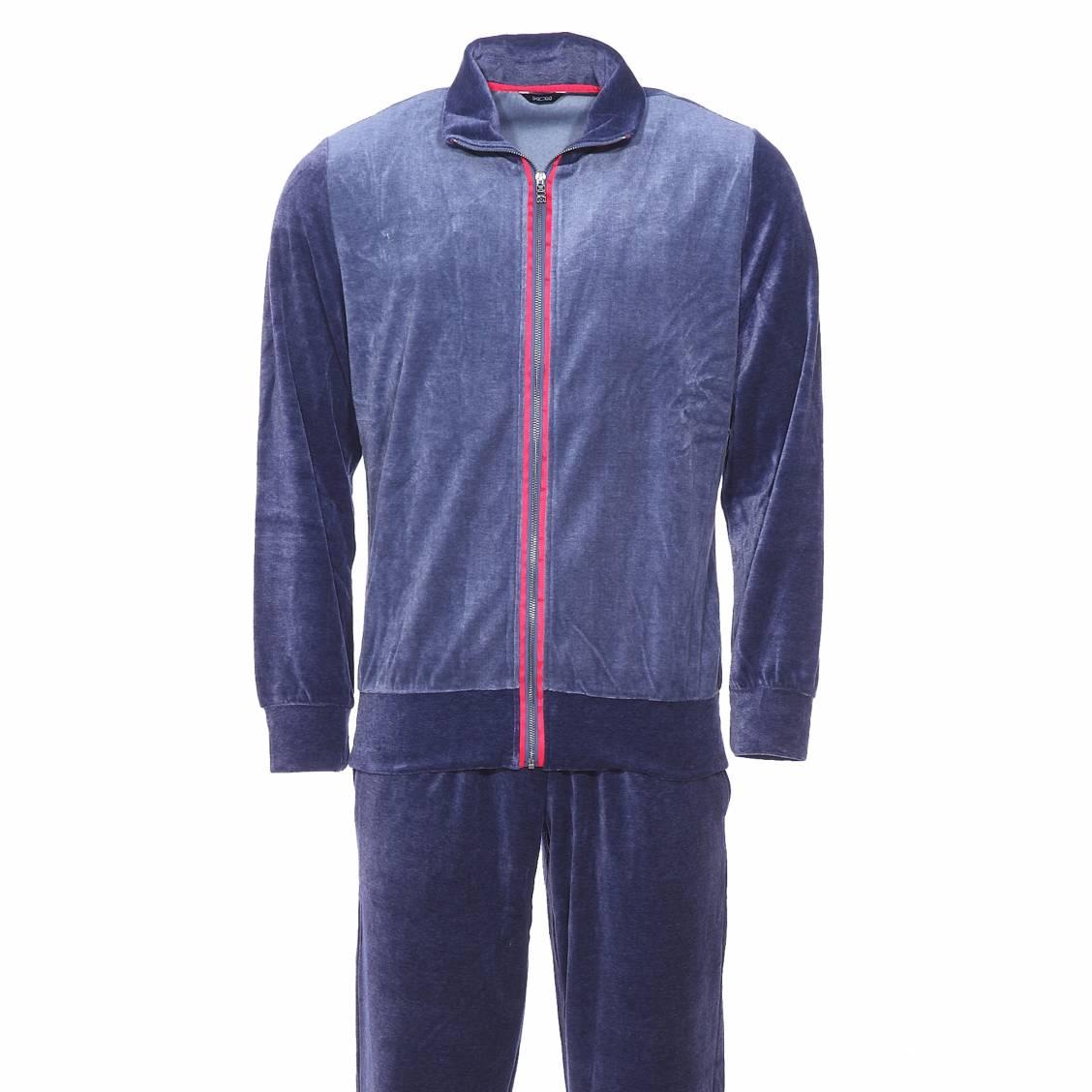 tenue d 39 int rieur jazz hom en velours veste zipp e bleu marine et bleu jean et pantalon bleu. Black Bedroom Furniture Sets. Home Design Ideas