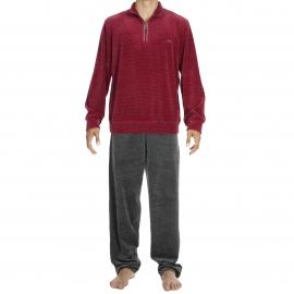 Tenue d'intérieur Jazzy Hom en velours : sweat col zippé bordeaux à fines rayures grises, pantalon gris