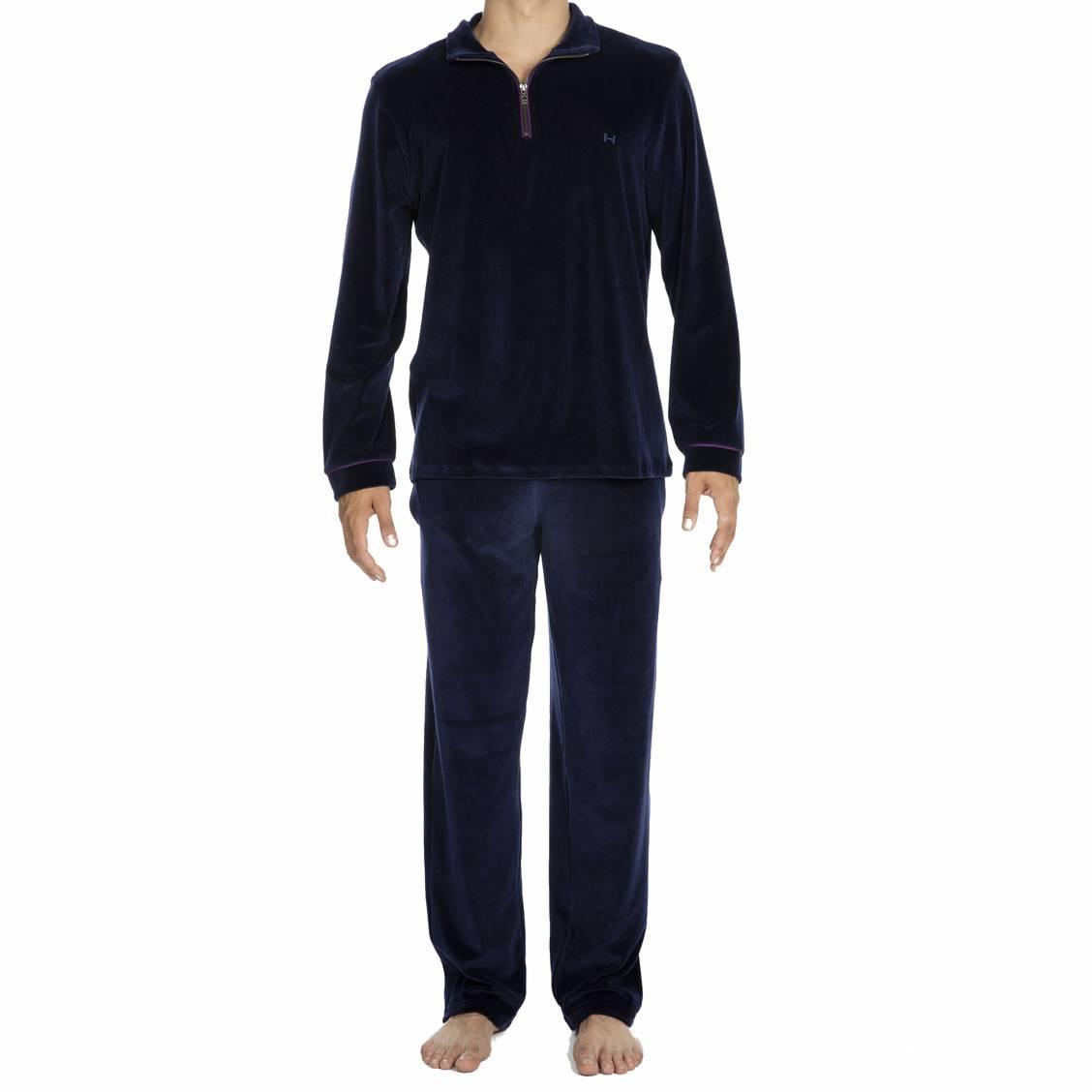 tenue d 39 int rieur jeff hom en velours sweat col zipp et pantalon bleu marine rue des hommes. Black Bedroom Furniture Sets. Home Design Ideas