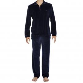 Tenue d'intérieur Jeff Hom en velours : sweat col zippé et pantalon bleu marine