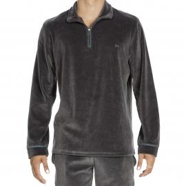 Tenue d'intérieur Jeff Hom en velours : sweat à col zippé et pantalon gris foncé