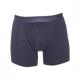 Boxer long HO1 Hom ouvert en coton et modal bleu marine