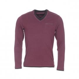Tee-shirt manches longues Izac en coton bordeaux à double col
