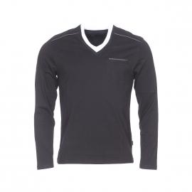 Tee-shirt manches longues Izac en coton noir à double col