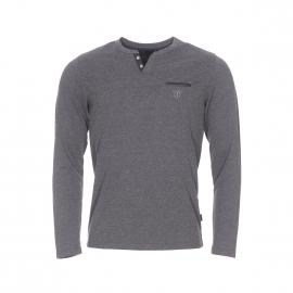 Tee-shirt manches longues col tunisien Izac en coton gris anthracite chiné