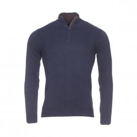 Pull col zippé Izac en coton et cachemire bleu marine à coudières apparentes