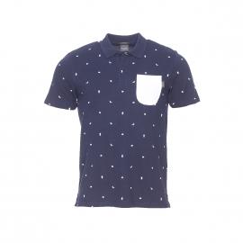 Polo cintré Jack & Jones en coton bleu marine à motifs blancs