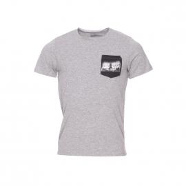 Tee-shirt col rond Jack&Jones en coton gris clair chiné à poche poitrine imprimée